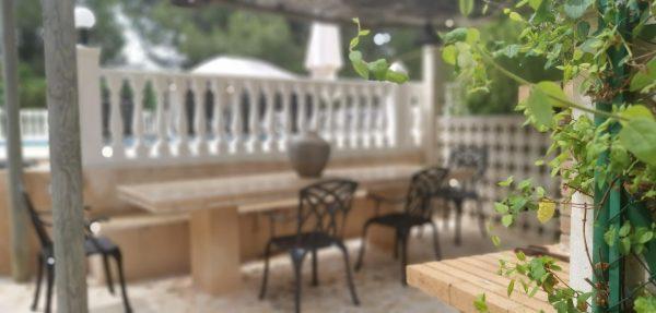 outside dining area at the villa ibiza
